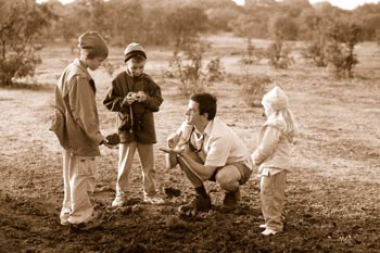 Children with field guide